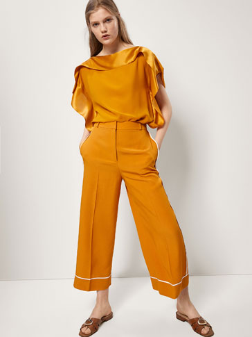 CULOTTE TROUSERS WITH CONTRASTING DETAILS