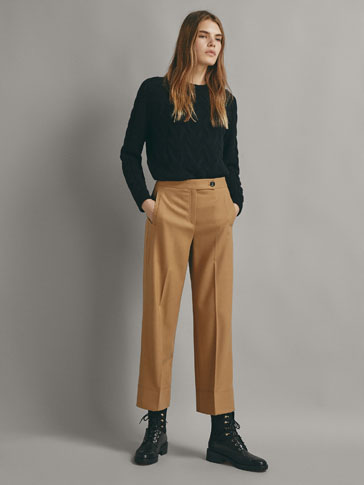 CROPPED WOOL TROUSERS WITH TOPSTITCHING