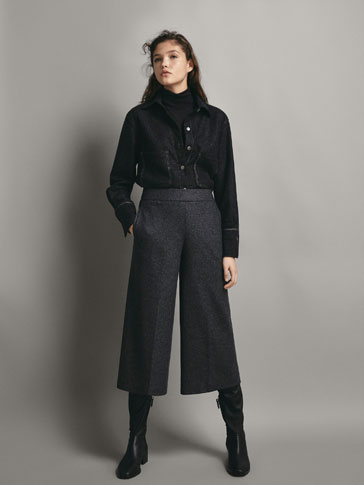 CULOTTE FIT HEATHERED WOOL TROUSERS