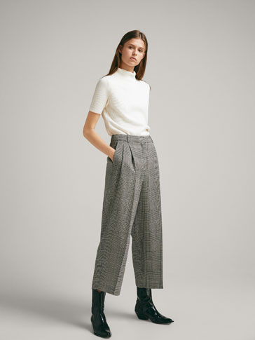 CHECKED WOOL CULOTTE TROUSERS
