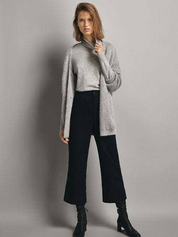 CROPPED TROUSERS WITH SIDE PIPING