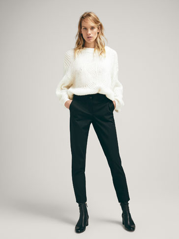 SKINNY FIT PLAIN COTTON TROUSERS