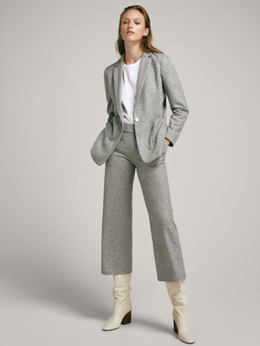 Culotte Fit Heathered Wool Trousers by Massimo Dutti