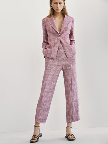 CROPPED FIT CHECKED LINEN SUIT TROUSERS