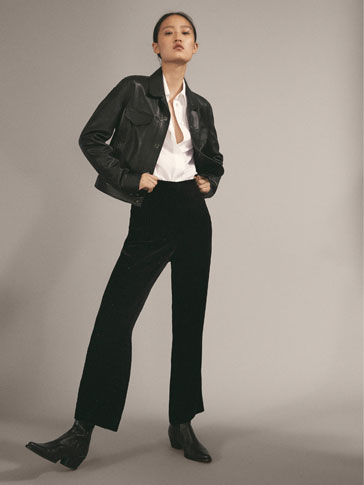 SPARKLY BLACK CROPPED FIT VELVET TROUSERS IN CHECK TEXTURE