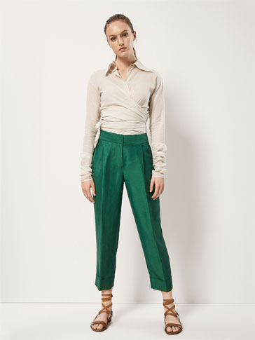 SLIM FIT LINEN TROUSERS WITH DOUBLE DARTS