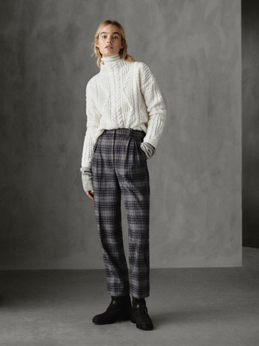 Winter Capsule Darted Slim Fit Check Wool Trousers by Massimo Dutti