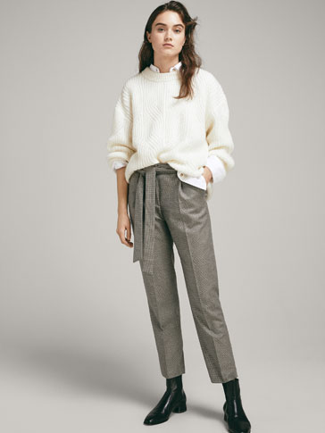 HOUNDSTOOTH WOOL JOGGING TROUSERS