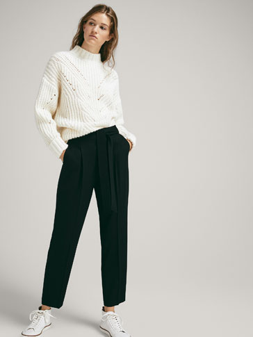 TIED BOW WOOL JOGGING TROUSERS