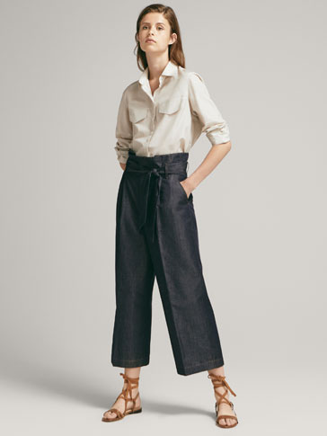 DENIM TROUSERS WITH TIED BELT