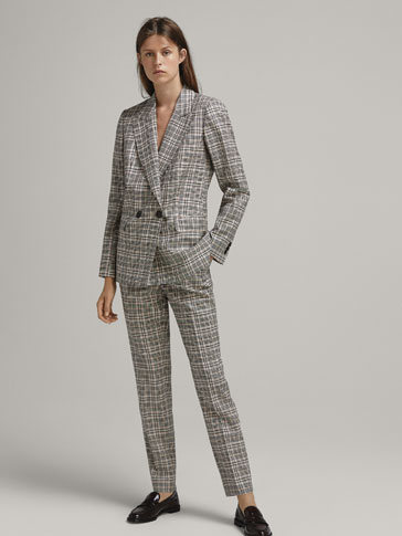 CHECKED WOOL SLIM FIT TROUSERS