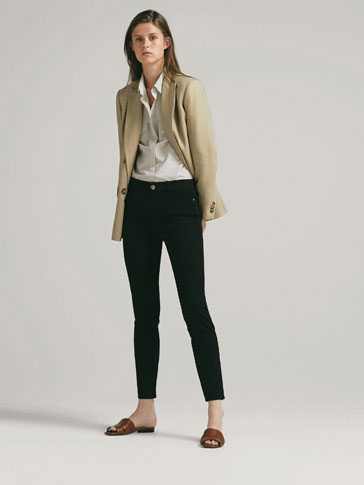 SKINNY MID-RISE SATIN TROUSERS