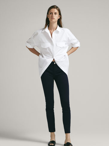 SKINNY FIT MID-RISE SATIN TROUSERS