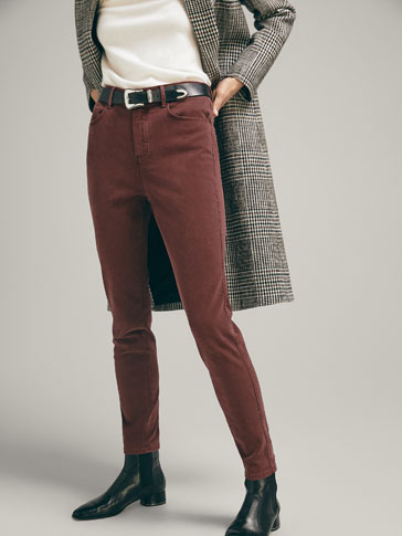 SKINNY FIT HIGH-RISE TWILL TROUSERS