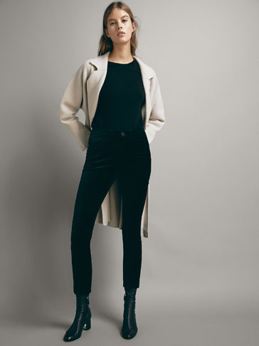 HIGH-RISE SKINNY FIT VELVET TROUSERS