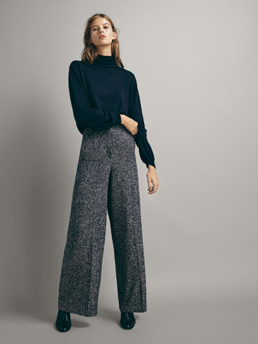 WIDE FIT TEXTURED BOUCLÉ TROUSERS