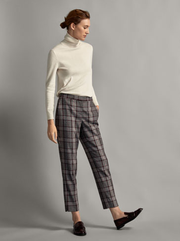 SLIM FIT CHECKED WOOL TROUSERS