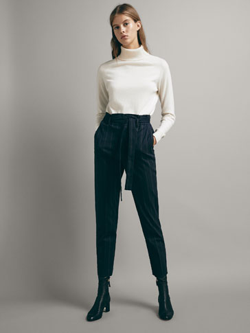 PINSTRIPE SLIM FIT COTTON TROUSERS