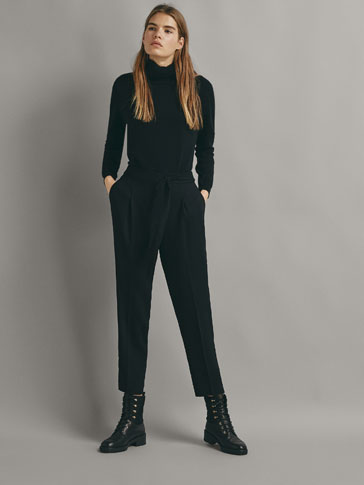 TEXTURED BLACK JOGGING TROUSERS WITH TIE DETAIL
