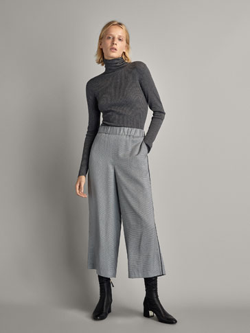 CULOTTE FIT TROUSERS WITH SIDE STRIPES