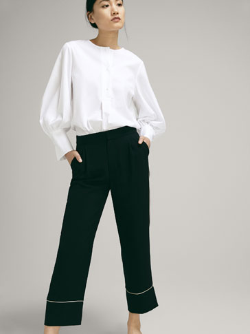 PANTALONI BORDINI A CONTRASTO CROPPED FIT