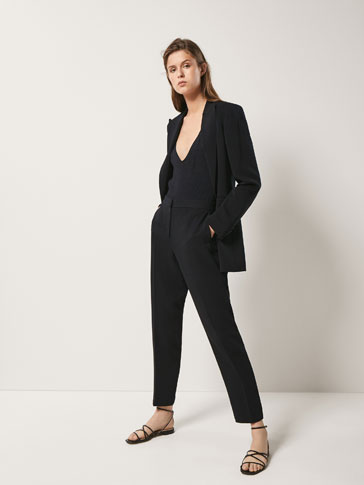 SLIM FIT CREPE TROUSERS