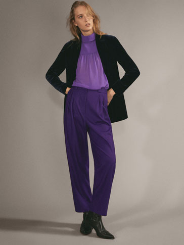 SLIM FIT DARTED WOOL TROUSERS