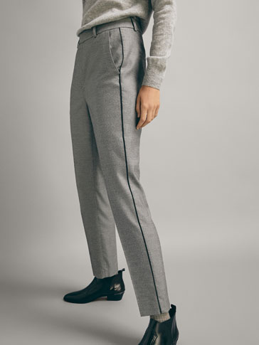 SLIM FIT FALSE PLAIN TROUSERS