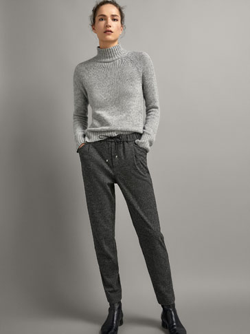 JOGGING FIT HEATHERED KNIT TROUSERS