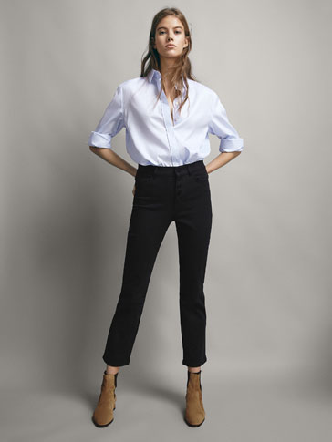 BUTTONED STRAIGHT FIT TROUSERS