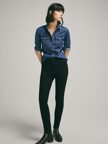 SKINNY FIT JEANS WITH VELVET PIPING