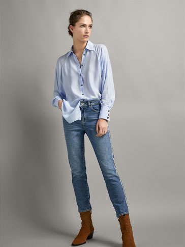 MID-RISE SLIM CROPPED FIT JEANS WITH SIDE STRIPES
