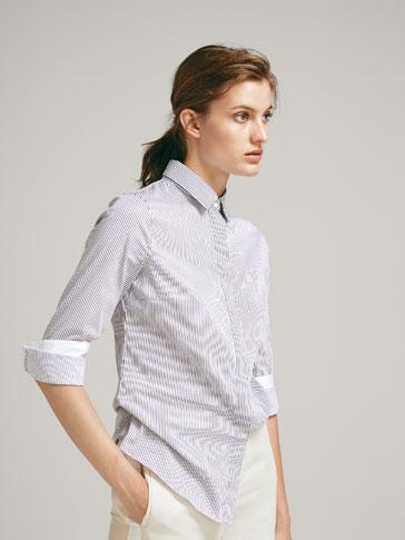 CAMICIA DI COTONE A RIGHE STRETCH FIT