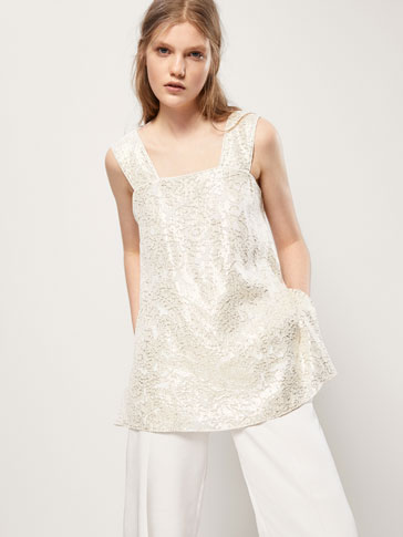 EMBELLISHED SILK AND BROCADE TOP