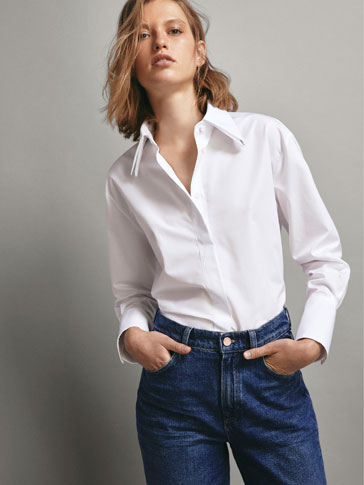 POPLIN SHIRT WITH RHINESTONE TRIMS
