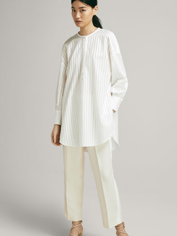 TEXTURED OVERSIZED COTTON BLOUSE