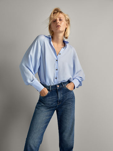 PLAIN SHIRT WITH CONTRAST BUTTONS