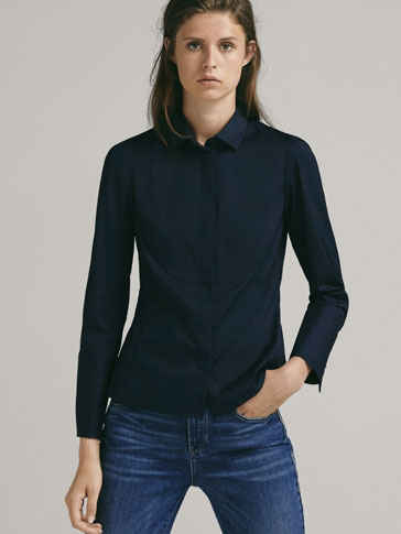 STRETCH SHIRT WITH BIB DETAIL