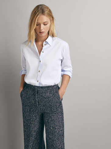 COTTON SHIRT WITH CONTRAST BUTTONS