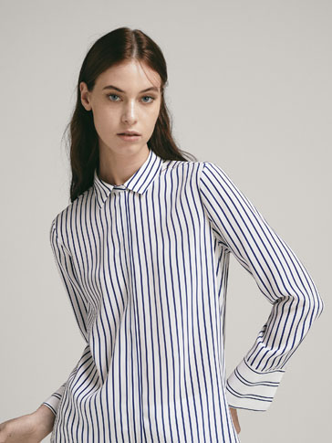 100 Percents Silk Striped Shirt by Massimo Dutti