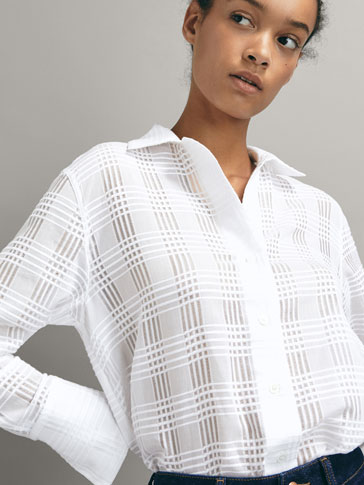 CHECK TEXTURED COTTON SHIRT