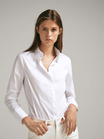 CHEMISE COTON UNIE STRETCH FIT