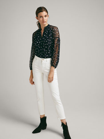 FIL COUPÉ SILK BLOUSE WITH TWO-TONE PRINT