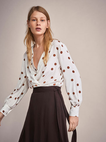 PRINTED POLKA DOT BLOUSE