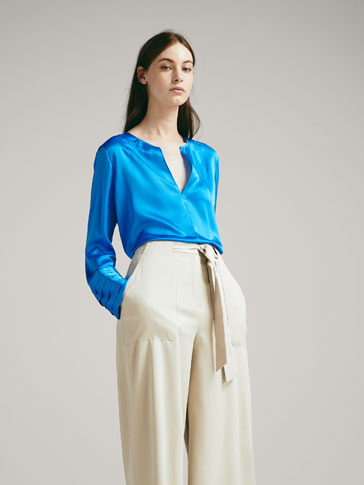 100% SILK SHIRT WITH PLEATS