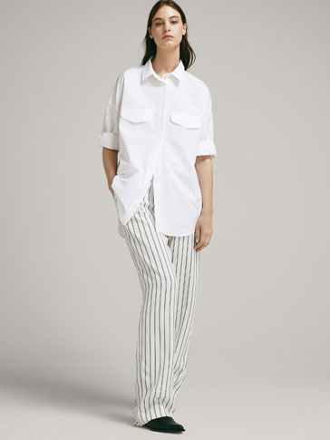 LOOSE FIT POPLIN BLOUSE WITH FRONT FLAPS AND CHECK-TEXTURE WEAVE
