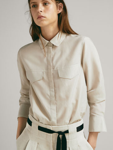 COTTON/SILK SHIRT WITH POCKETS
