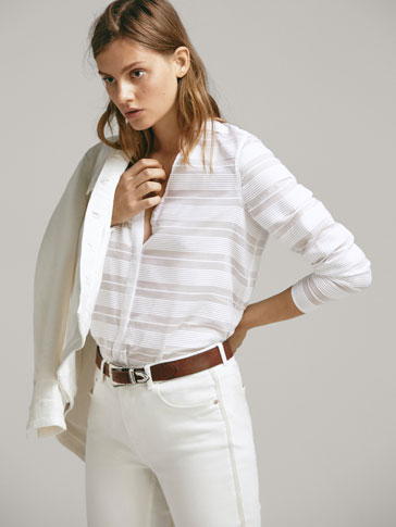 STRIPED COTTON TEXTURED WEAVE SHIRT