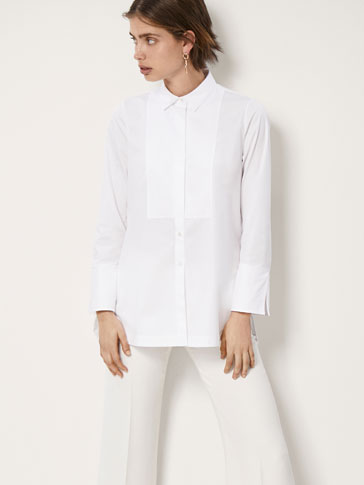 COTTON OVERSIZED BLOUSE WITH A BIB DETAIL