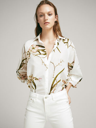 FLORAL PRINT SILK/COTTON SHIRT